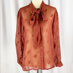 Givenchy for Chesa Vintage Necktie Sheer Blouse